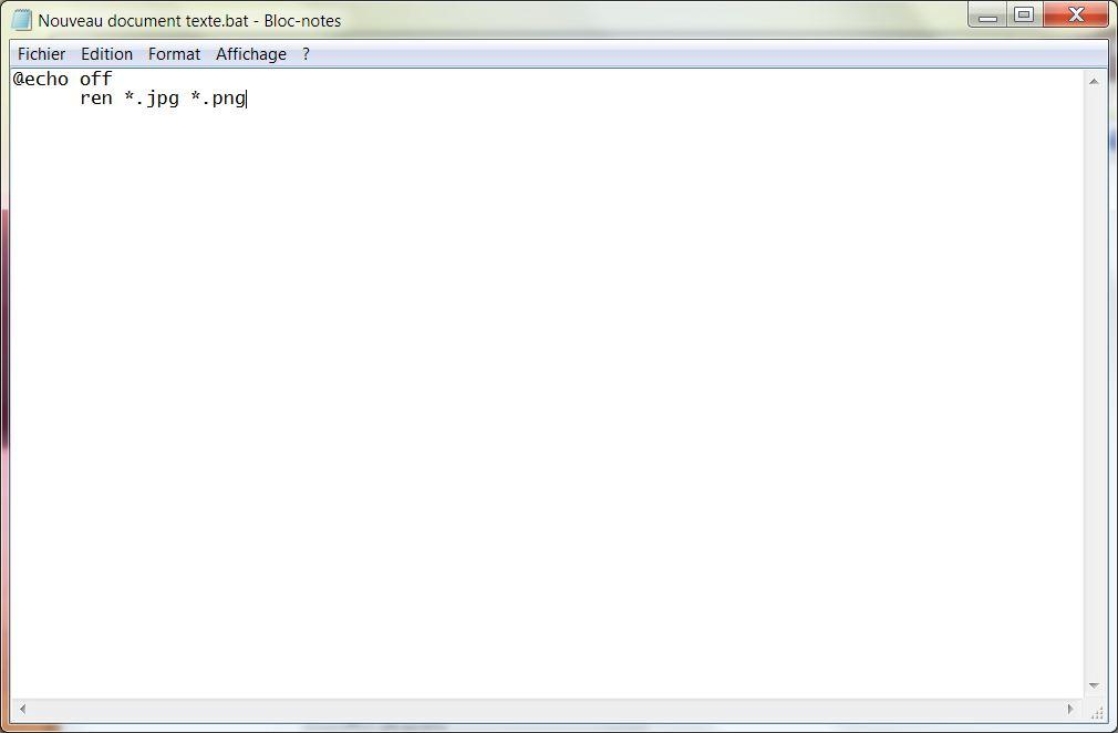 Modifier l'extension de plusieurs fichiers