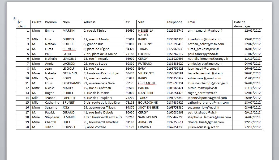 Base de données Word