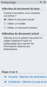 Sélection du document de base