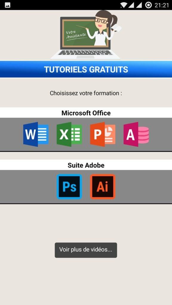 Application Android Votre Assistante Tutoriels Office