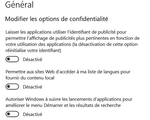 désactiver les options confidentialité windows 10