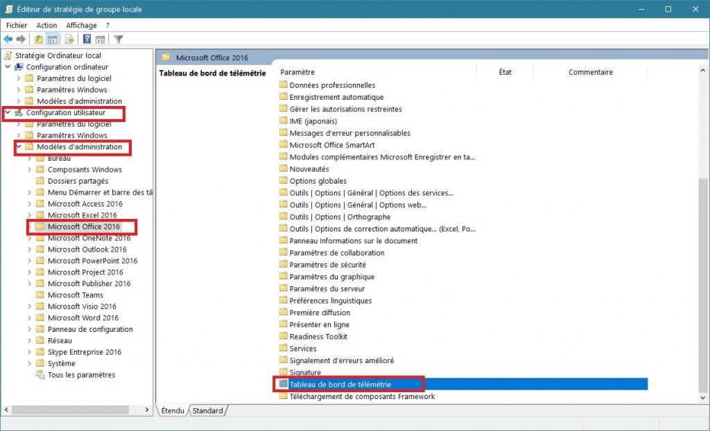 Désactiver la télémétrie Microsoft Office