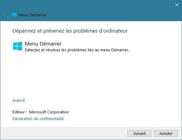 réparer le menu démarrer windows 10