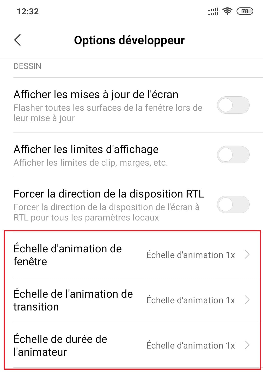 désactiver animation android