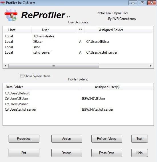 Impossible charger profil utilisateur