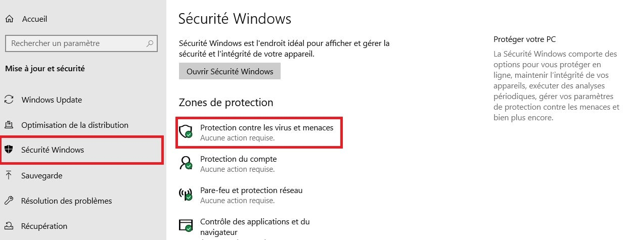 programme bloqué antivirus windows
