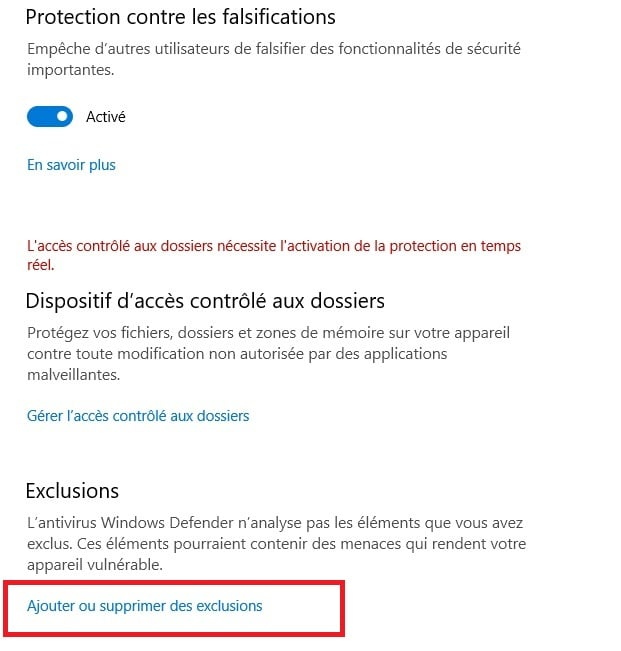 exclure prgramme antivirus windows 10