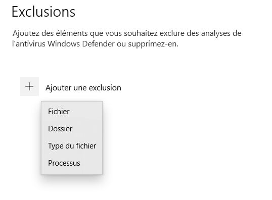 exclusions windows 10