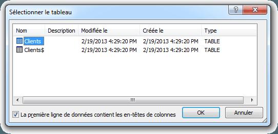 Publipostage avec base de données Excel boîte de dialogue