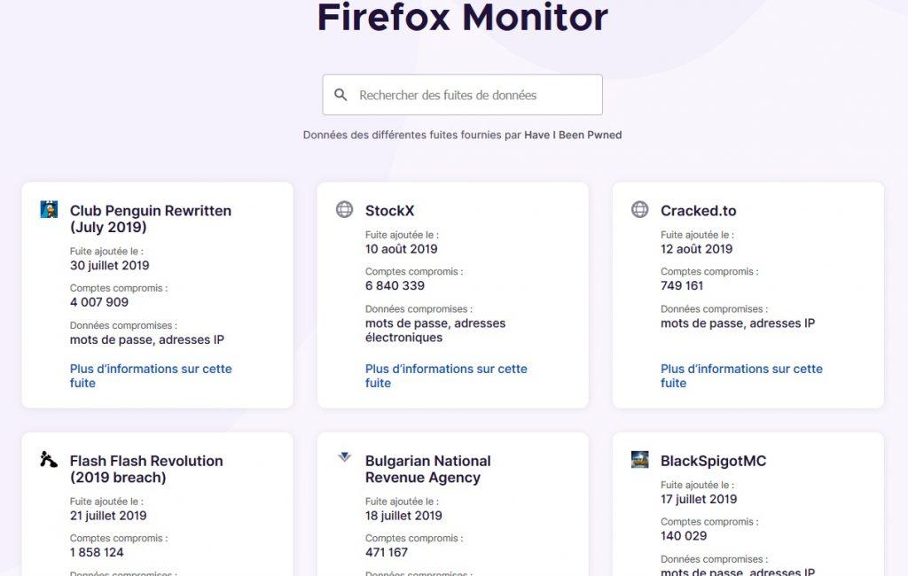 firefox monitor fuite de donnee