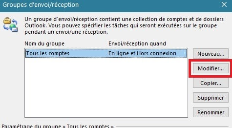 solution synchronisation dossier abonnement outlook